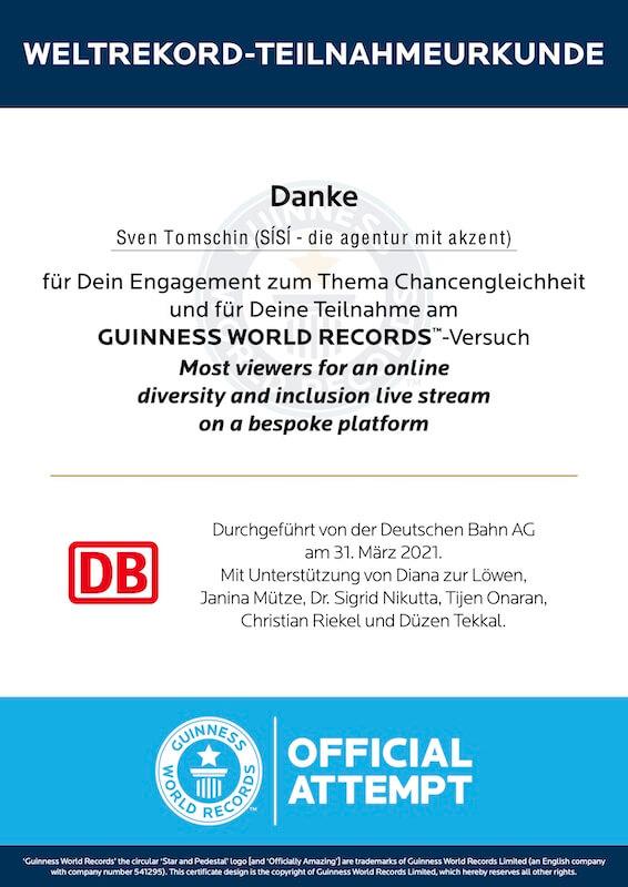 DB Deutsche Bahn Sven Tomschin Guiness World Record Weltrekord Diversity Inklusion Live Stream SISI agentur